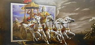 Krishna Escorting Arjuna in Mahabharata War/ / Large size Rolled Canvas Art Print Poster (20