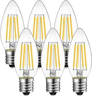 シャンデリア電球 E17口金 40W形相当 470LM LED フィラメント電球 2700K電球色 広配光 省エネ 4W PSE認証 3年保証 6個セット 調光器非対応