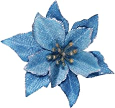 Winlyn 24 Set Christmas Blue Glitter Poinsettia Flowers Picks Christmas Tree Ornaments for Winter Blue Teal Christmas Tree...