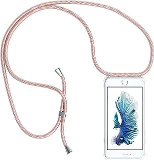 EAZY CASE Handykette kompatibel mit Apple iPhone 6 / 6S Handyhülle mit Umhängeband, Handykordel mit Schutzhülle, Silikonhülle, Hülle mit Band, Stylische Kette mit Hülle für Smartphone, Rosé-Gold
