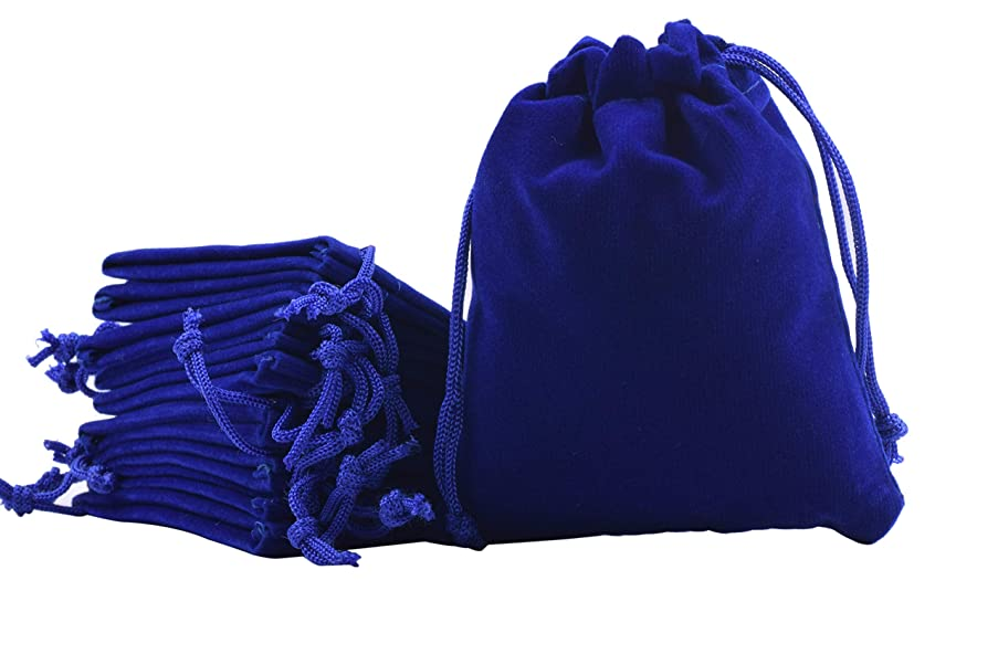Sansam 50pcs Royal Blue Drawstrings Velvet Bags for Jewelry, Gift, Wedding Favors, Candy Bags, Party Favors, 4.0x4.8''