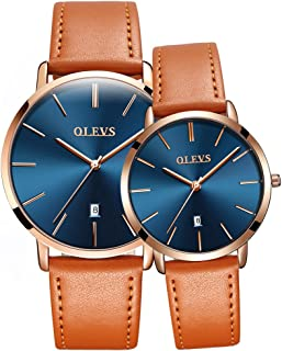 Couple Watches Fashion Minimalist His and Hers Ultrathin Quartz Analog Watch 3ATM Waterproof Date with Black Brown Leather Band Valentine's Romantic Wristwatches