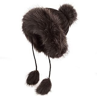 Women Winter Hat Knitted Faux Fur Beanie Bonnet Furry Ear Bomber Trapper Hat