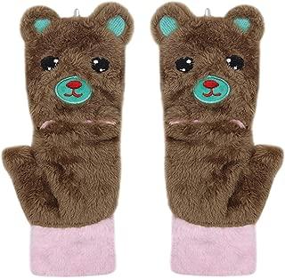 Women Cute Cat Paw Bear Gloves Plush Flip Top fingerless Warm Bear Soft Winter Warmer Mittens for Girls teen