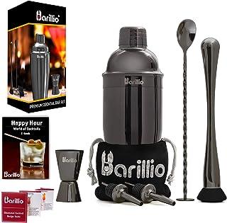 Black Cocktail Shaker Set Bartender Kit by BARILLIO: 24 oz Stainless Steel Martini Mixer,..
