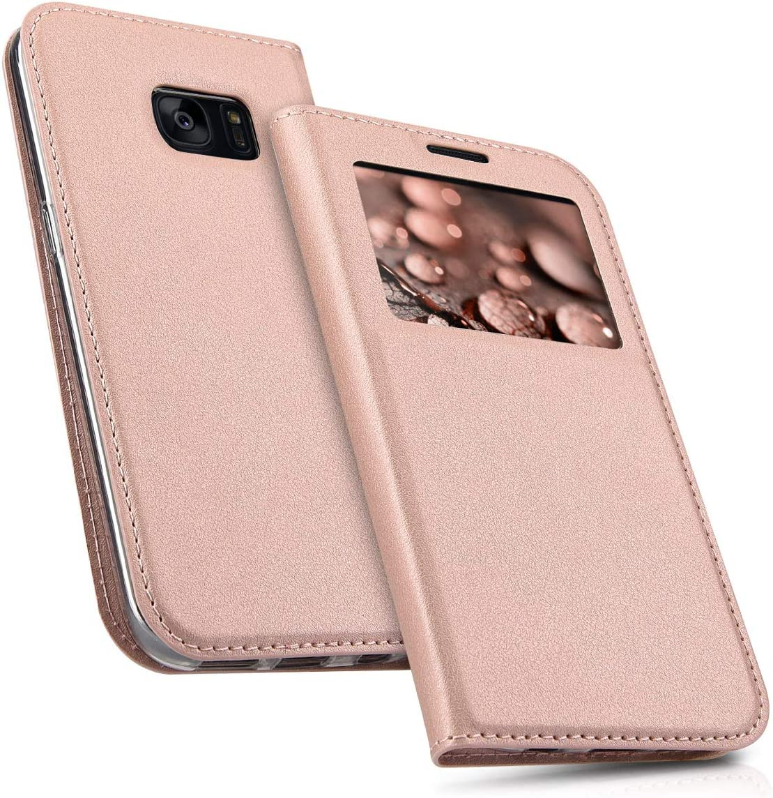 kwmobile Flip Case Compatible with Samsung Galaxy S7 - PU Leather Book Style Wallet Cover with Window - Rose Gold