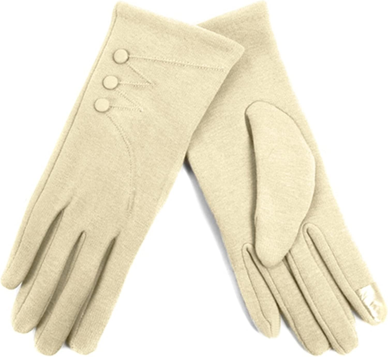 Women's Ivory Stylish Touch Screen Gloves with Button Accent & Fleece Lining SM
