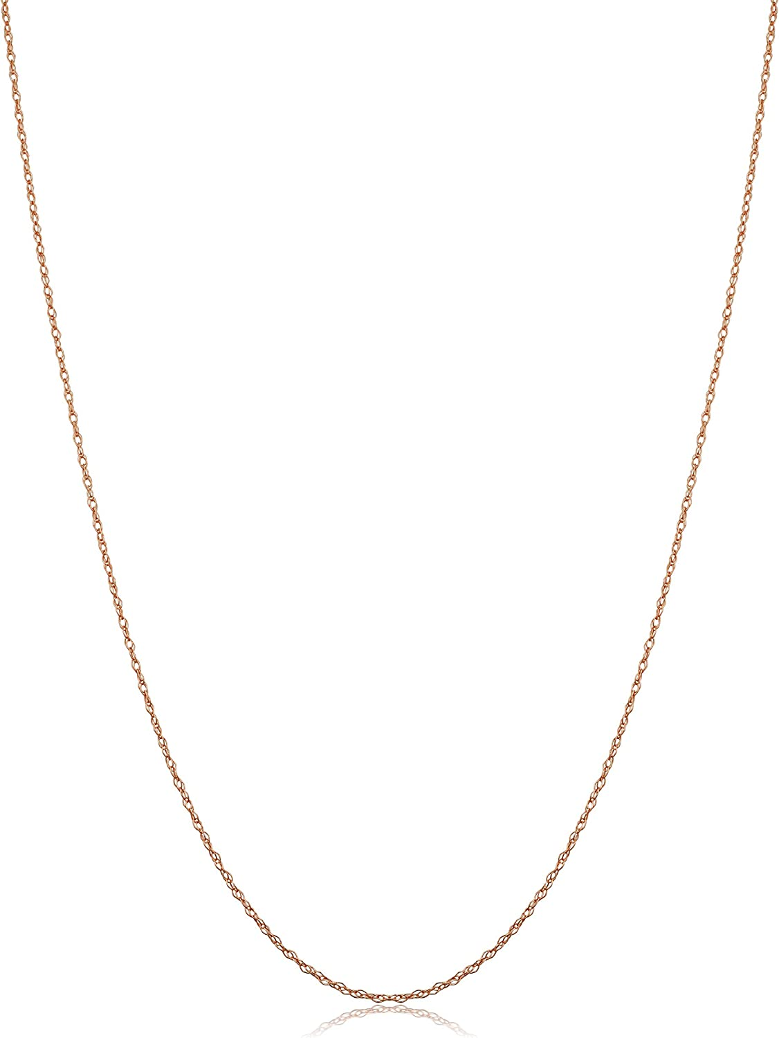 Kooljewelry Solid 10k Rose Gold 0.7 mm Dainty Rope Chain Necklace