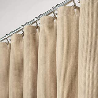 mDesign Premium 100% Cotton Waffle Weave Fabric Shower Curtain, Hotel Quality - for Bathroom Showers and Bathtubs, Super Soft, Easy Care - 72