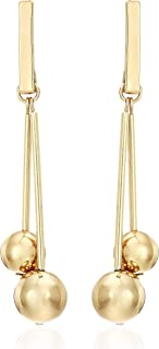 Ben-Amun Jewelry Women's Mod Gold-Tone Ball Drop Linear Dangle Earrings, One Size