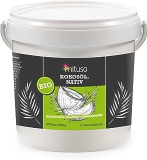 aceite de coco orgánico mituso, nativo, 1 paquete (1x 1000 ml) en un cubo