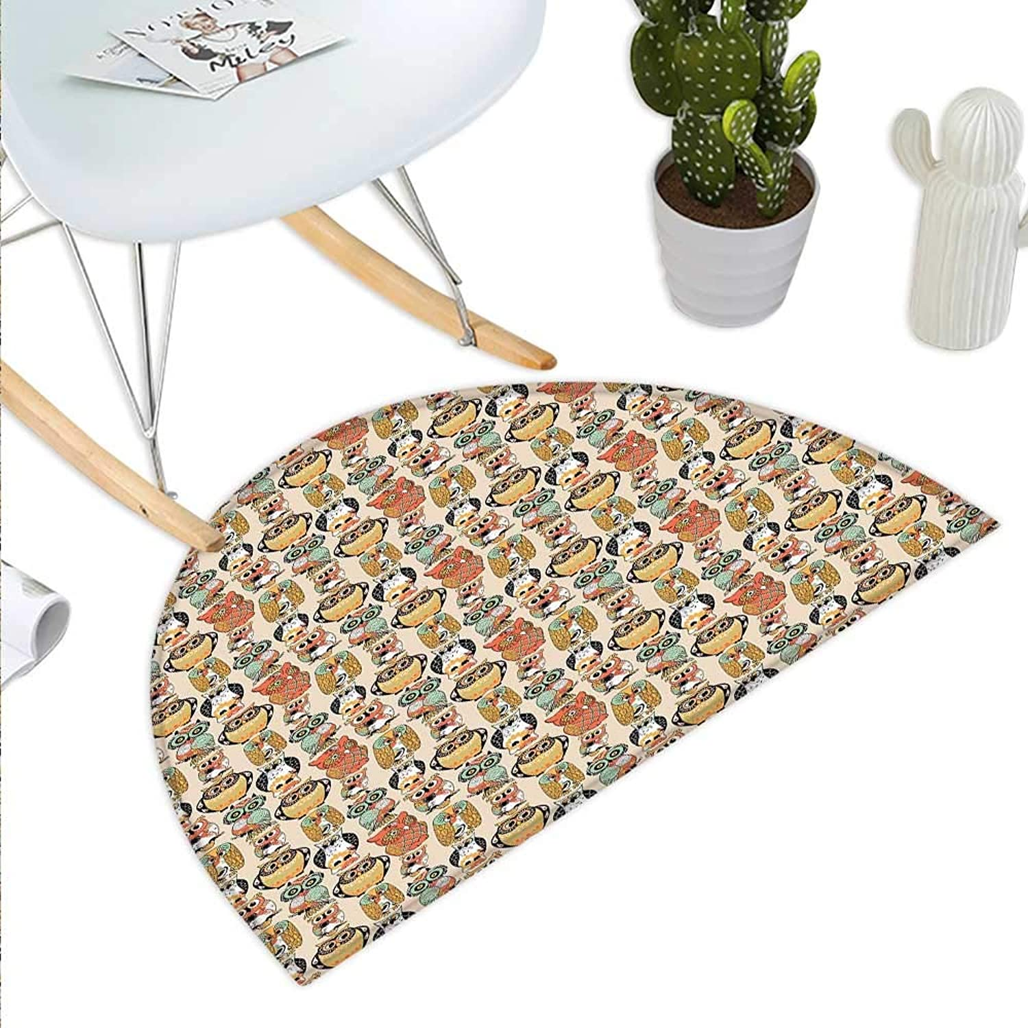 Owls Semicircle Doormat Artistic Forest Animals with Ornamental Rich Details Floral and Geometric Vintage Halfmoon doormats H 35.4  xD 53.1  Multicolor
