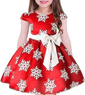 Tueenhuge Baby Girls Christmas Dress Toddler Snowflake Print Party Wedding Formal Dresses