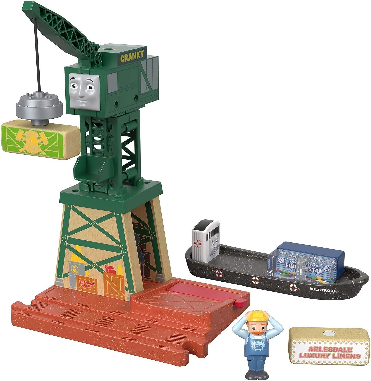 Thomas & seine Freunde GGG70 - Cranky Holzeisenbahn Spielset, Spielzeug ab 3 Jahren