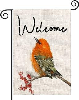 YANGYULU Home Decorative Welcome Cardinal Garden Flag House Yard Birds Christmas Fall Maple Decor, Winter Farmhouse Outsid...