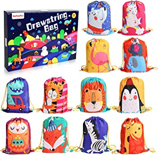 BeebeeRun Animals Kids Party Bags 12 PCS Candy Goodie Bags Reusable Drawstring Bags ,Gift Bags for Kids Girls Boys