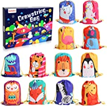 12 PCS Kids PartyFavorBags for Birthday Party Gift Package,DrawstringGoody Bag with Cartoon Animal Designed to Baby Boys and Girls
