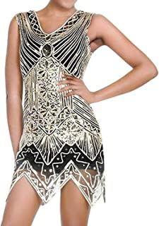 High end Women's Vintage Flapper Girl Dress 1920s V Neck Charleston Beaded Fringed Great Gatsby Costume Sexy Sequins Ta