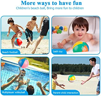 Coogam Inflatable Beach Ball Classic Rainbow Color Birthday Pool Party Favors Summer Water Toy Fun Play Beachball Gam...