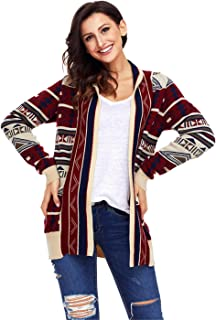 Long Sleeve Festival Christmas Eve Fair Isle Aztec Geometric Longline Pocket Cardigan Sweater Coat Top