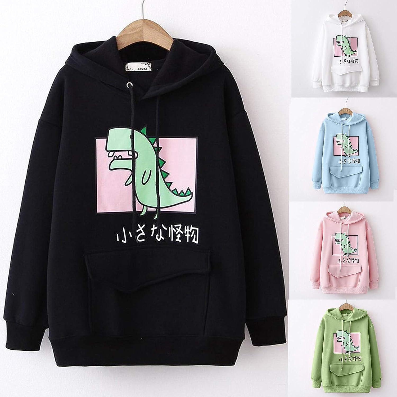 UOCUFY Womens Hoodies, Womens Tops Sweatshirts Cute Printed Oversized Long Sleeve Drawstring Pullover Hoodies
