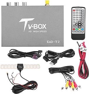 Akozon Car Digital Converter Box Mobile Digital TV Box Receiver 1080P HD DVB-T2 with Antenna Tuner Remote Control