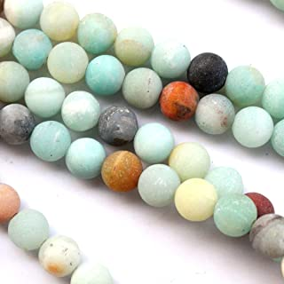 Tacool Natural Unpolished Frosted Amazonite Round 8mm Gemstone Jewelry Making Beads Findinds Supplies