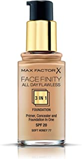 Max Factor Facefinity All Day Flawless 3 in 1 Liquid Foundation, 77 Soft Honey, 30ml