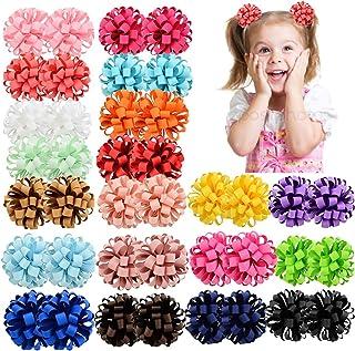 40pcs Baby Girls Bow Elásticos lazos para el cabello 3inches Grosgrain Ribbon Hair Band Ponytail Holder Accesorios para el...