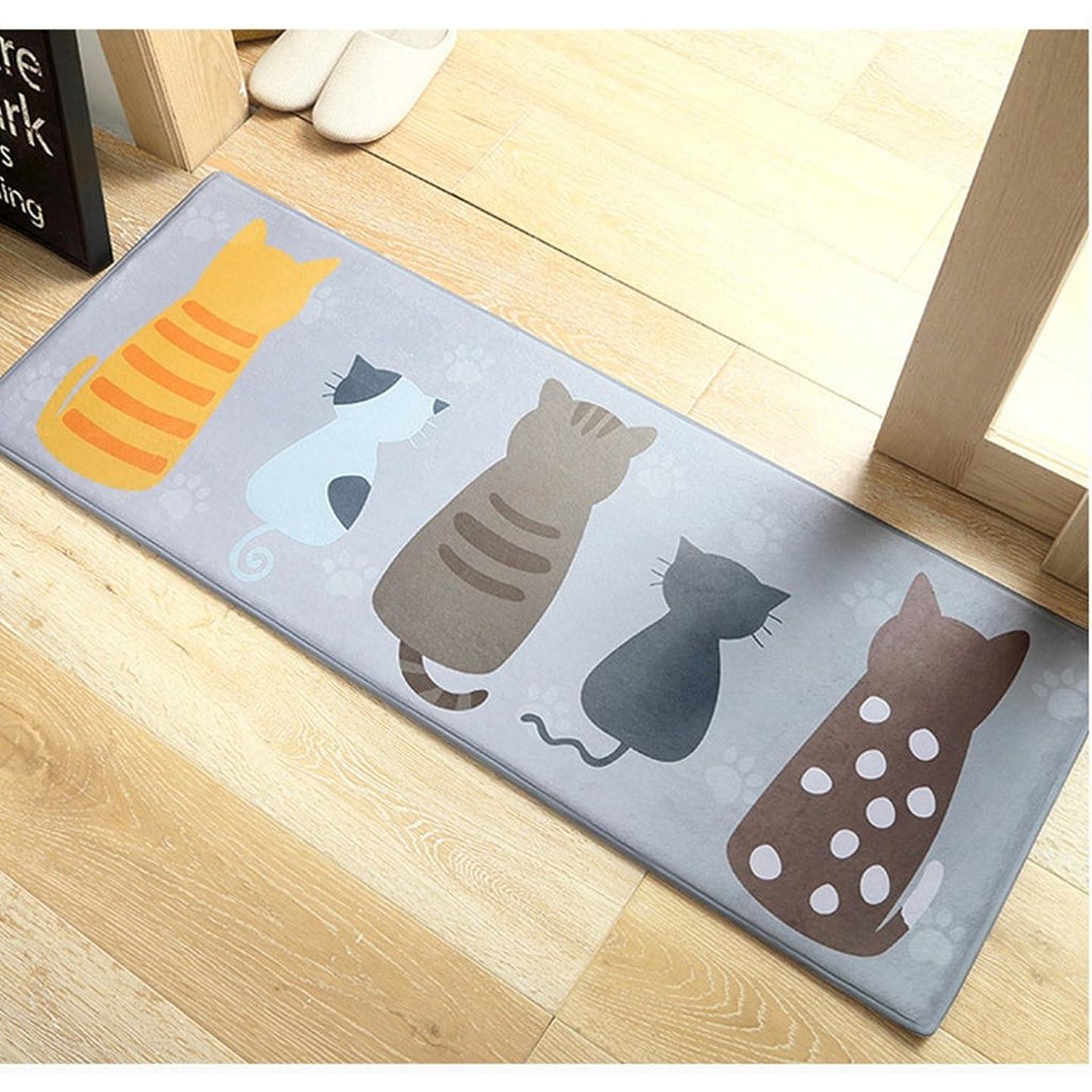 に付ける階優れた[HR] キッチンマット 120 洗える 滑り止め 屋外 屋内 北欧風 ベッドサイドマット (猫3匹) 40*60cm