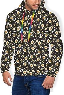 GULTMEE Men's Hoodies Sweatershirt, Repetitive Pattern of Flowers and Buds Blooming Petals Plants Vintage,5 Size