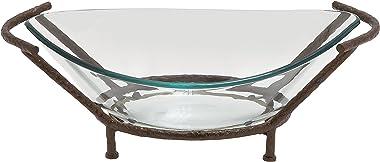 Deco 79 Bol en verre, support en métal, 66 x 23 cm