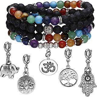 Jovivi 2PCS 6mm Mala Beads 108/Lava Rock 7 Chakra Tree of Life/Hamsa/OM/Lotus/Elephant Healing Crystal Bracelet Necklace Set
