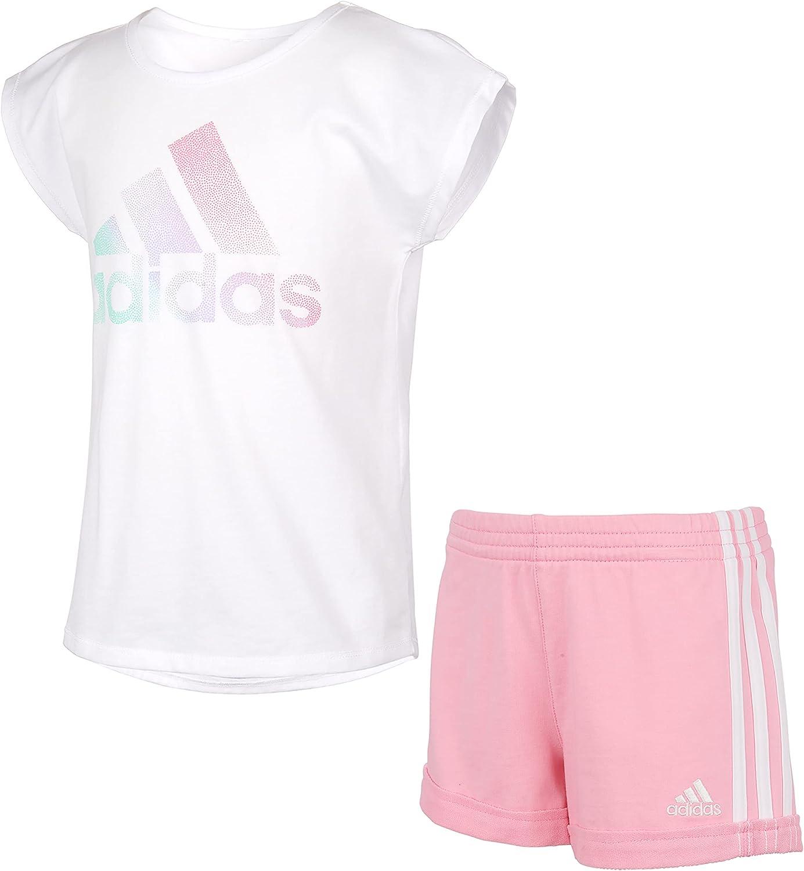 adidas girls Short Sleeve Love to Dance Tee and Shorts Set
