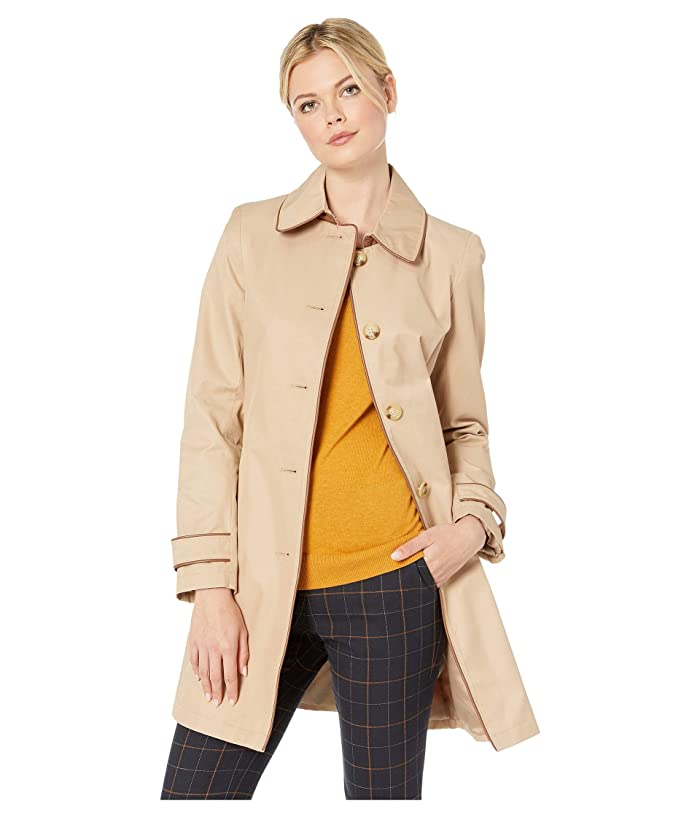 LAUREN Ralph Lauren Single Breasted Rain Coat with Faux Leather Trim (Racing Khaki) Women