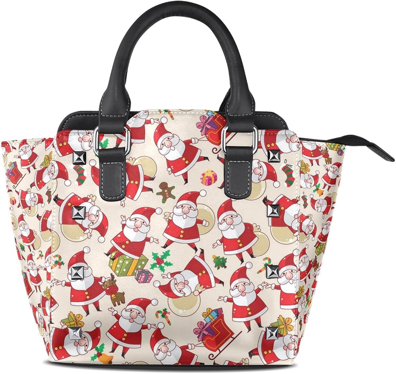 Sunlome Christmas Santa Claus Women's Leather Tote Shoulder Bags Handbags
