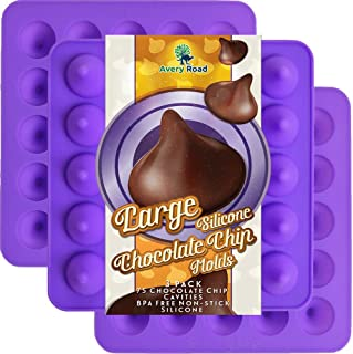 Large Chocolate Chip Mold Silicone 3 Pack - Kisses Shaped Premium Grade Lfgb Fda Silicone Molds ~ Big Chocolate Kiss shape - Make 75 Kisses with these Candy Molds ~ Make Non Dairy & Sugar Organic