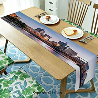 City Table runner for Farmhouse Dining Coffee Table Decorative,Early Morning Scenery in Melbourne Australia Famous Yarra River Scenic 16