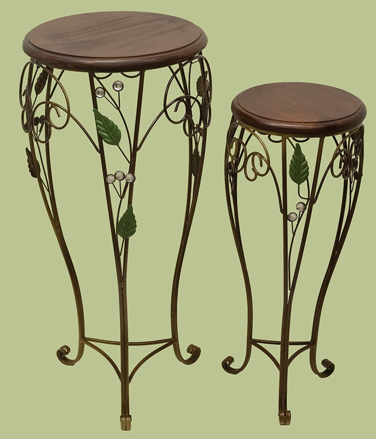 E64012 Metal Plant Stand Set of 2 with Wooden Top