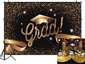 Funnytree 7X5FT Durable Fabric Class Graduation Prom Photography Backdrop Black and Gold Bachelor Cap Ribbon Grad Celebration Party Banner Background for Picture Photo Photobooth Decoration