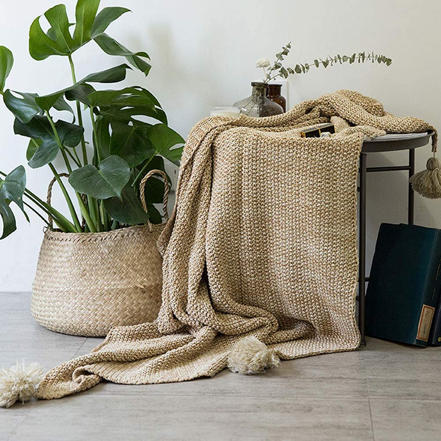 Tassel Wool Ball Cotton Knit blanket Casual blanket Single Cotton Thin blanket nap air Conditioning blanket (color   Camel, Size   5118  66.93)
