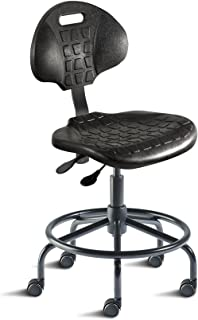 BioFit Engineered Products UUS-L-RC Unique Series Desk Height Chair with Black Self-Skinned Urethane Seat and Backrest, Steel Base and Footring