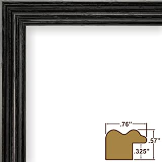Craig Frames 200ASHBK 16 by 20-Inch Picture Frame, Wood Grain Finish, .75-Inch Wide, Black