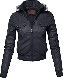 Made by Emma Women's Casual Stylish Trendy Zipper Cropped Leather Motorcycle Jacket