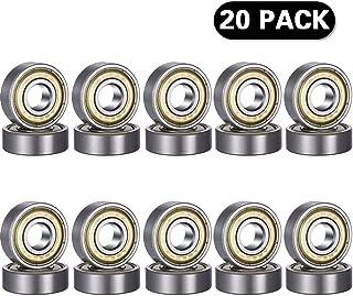 Rodamientos de bolas 608 ZZ, 20PCS 608zz Bola de monopatín acanalada en miniatura con doble blindaje de metal