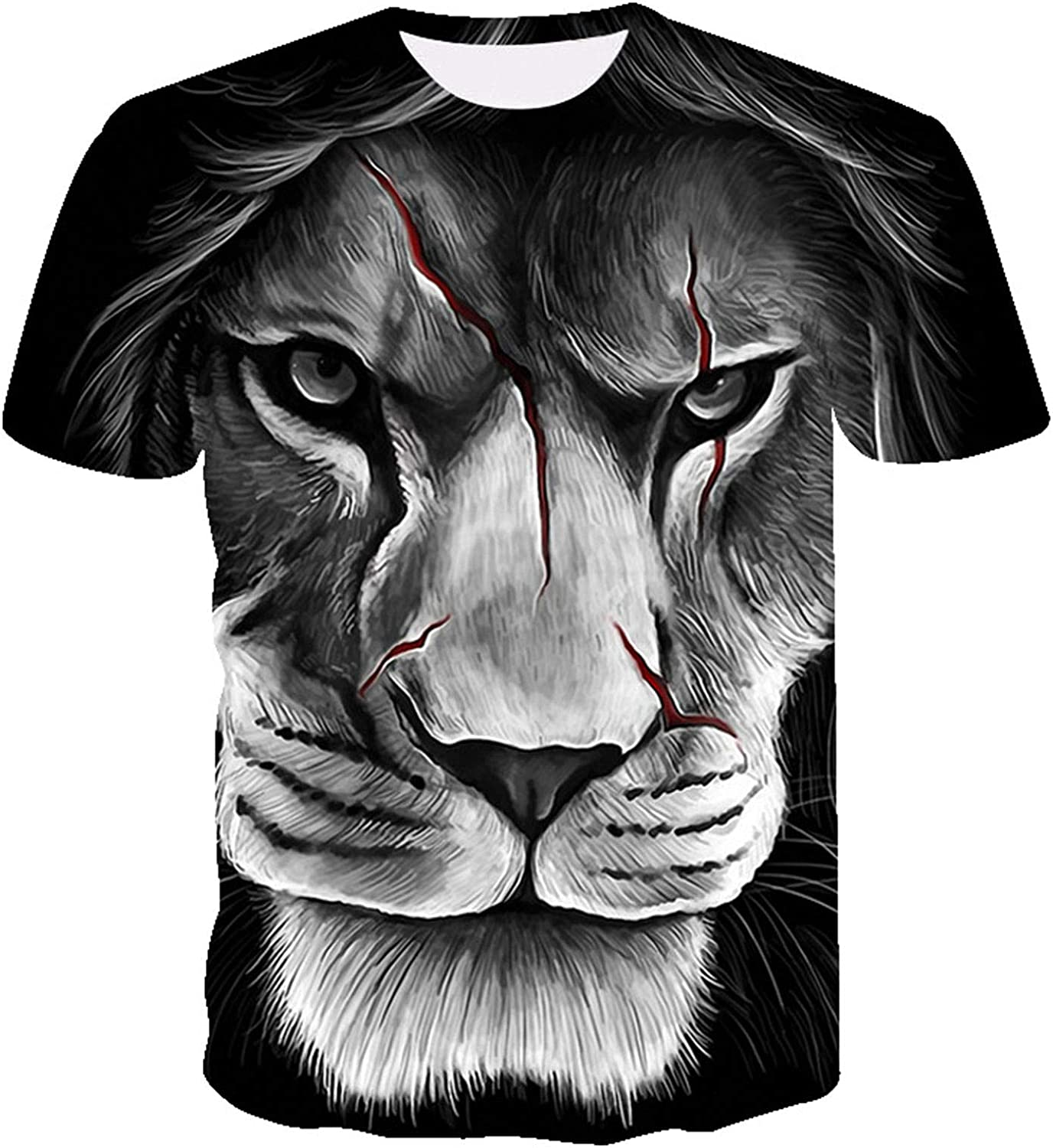 DZQUY Mens Summer 3D Digital Printed Graphic Tee Shirts Short Sleeve Casual Hipster Hip Hop Workout Tops Blouse