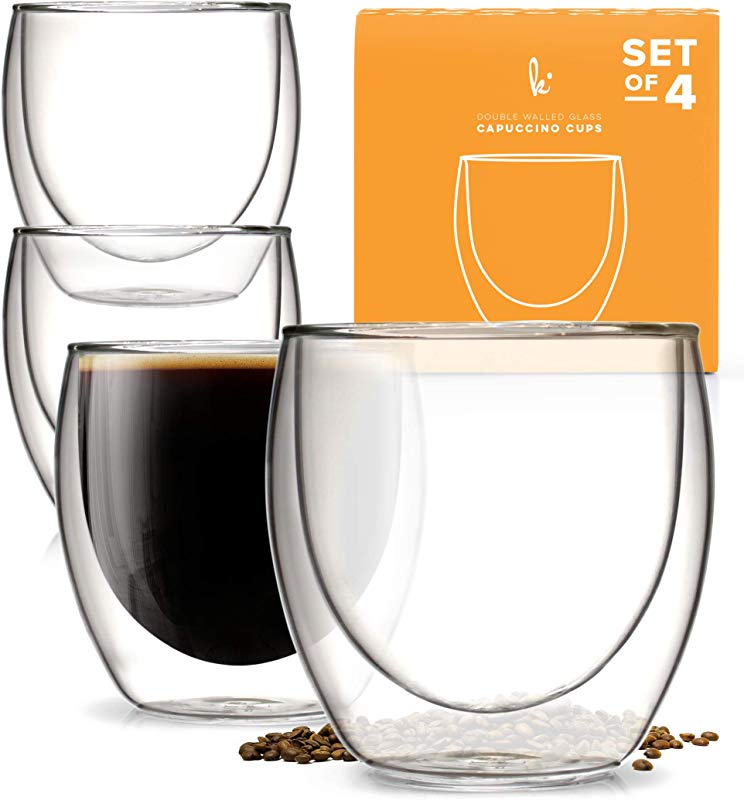 Kitchables Set Of 4 Glass Coffee Or Tea Mugs Drinking Glasses 8oz