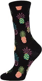 MeMoi Women's Pineapple Bamboo Crew Socks   Women's Fun Novelty Socks