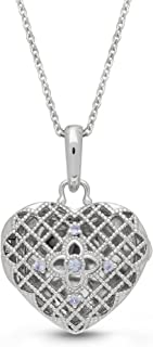 With You Lockets-Fine Sterling Silver-Custom Photo Heart Locket Necklace-That Holds Pictures for Women-The Isabel