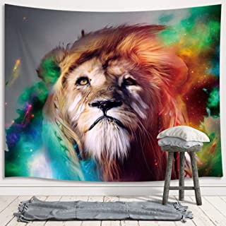 JAWO Animal Theme Lion Tapestry Wall Hanging Decoration, Galaxy Background, Multicoloured Artwork Wall Tapestry for Dorm Living Room Bedroom, Wall Blanket Beach Towels Home Decor